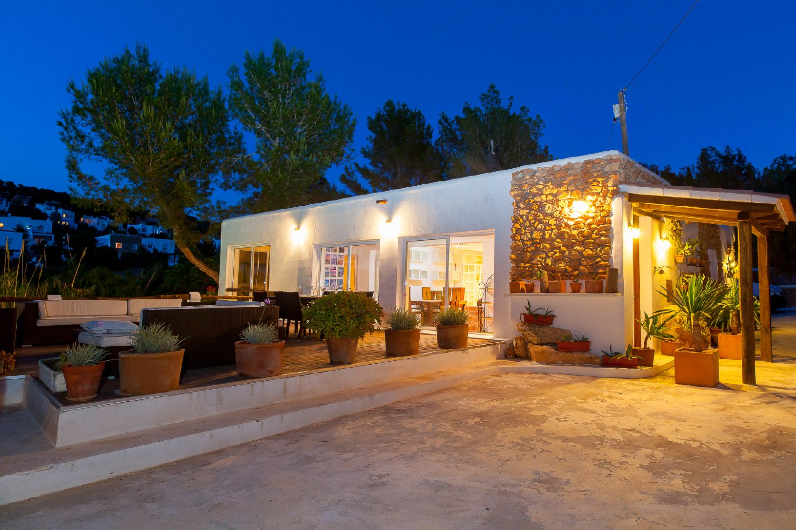 luxury rustic house at night in ibiza